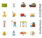 seaport flat icon set with... | Shutterstock . vector #313182968