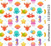 cute collection of cartoon sea... | Shutterstock . vector #313184123