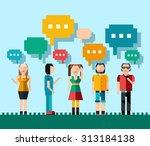 social network media chat... | Shutterstock . vector #313184138