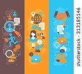 job interview flat banner... | Shutterstock . vector #313185146