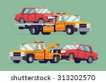 cool flat towing trucks with... | Shutterstock .eps vector #313202570