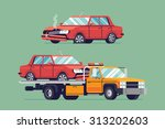 vector road accident damaged... | Shutterstock .eps vector #313202603
