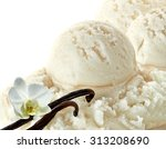 Stock photo vanilla ice cream scoops with vanilla beans or pods on white background 313208690