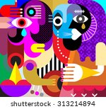 abstract portrait of two crying ... | Shutterstock .eps vector #313214894