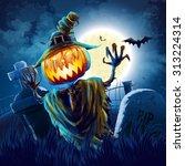 halloween cemetery | Shutterstock .eps vector #313224314