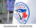 TORONTO,CANADA-July 22,2015: Detail of Blue Jays memorabilia. The Toronto Blue Jays are a professional baseball team located in Toronto, Canada. Members of the Eastern Division of MLB - stock photo