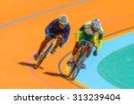 bike race on velodrome track... | Shutterstock . vector #313239404