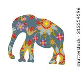 colorful print with elephant... | Shutterstock .eps vector #313254596