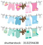 baby clothes on clothes line | Shutterstock .eps vector #313254638