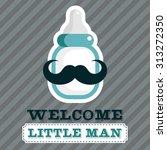 blue baby shower greeting card...   Shutterstock .eps vector #313272350