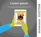 zombie hand tablet computer... | Shutterstock .eps vector #313275368