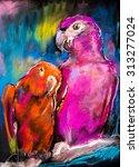 original pastel painting on... | Shutterstock . vector #313277024