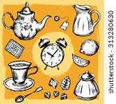 hand drawn tea set with clock | Shutterstock .eps vector #313280630