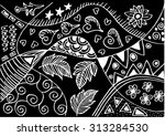floral doodle hand drawn | Shutterstock .eps vector #313284530