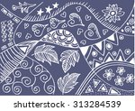 floral doodle hand drawn | Shutterstock .eps vector #313284539