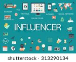word influencer with involved... | Shutterstock .eps vector #313290134