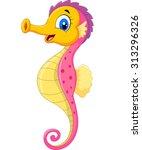 Cartoon Watercolor Seahorse...