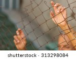 a man breaking down the fence.... | Shutterstock . vector #313298084