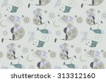 seamless  pattern with cats | Shutterstock .eps vector #313312160