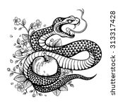 vector black and white tattoo... | Shutterstock .eps vector #313317428