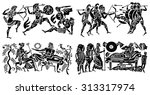 big collection of silhouettes... | Shutterstock .eps vector #313317974