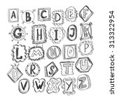 hand drawn funny doodle font | Shutterstock .eps vector #313322954