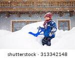 Cute Little Boy In Blue Winter...