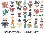 collection of vector heraldic... | Shutterstock .eps vector #313342394