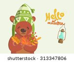 hello autumn. vector... | Shutterstock .eps vector #313347806
