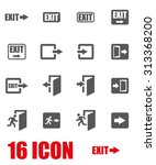 vector grey exit icon set.  | Shutterstock .eps vector #313368200