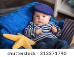 portrait of a cute little boy... | Shutterstock . vector #313371740