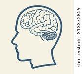 human head and brain... | Shutterstock .eps vector #313372859