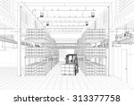 cad wireframe mesh of a... | Shutterstock . vector #313377758