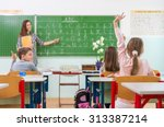 teacher and students in the... | Shutterstock . vector #313387214