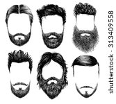 hipster fashion man hair and... | Shutterstock .eps vector #313409558