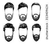 hipster fashion man hair and... | Shutterstock .eps vector #313409624