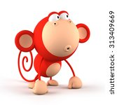 Cartoon Red Monkey Isolated On...