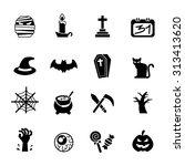 halloween icon set. vector... | Shutterstock .eps vector #313413620