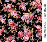 rose flower pattern  | Shutterstock .eps vector #313418930