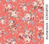 rose flower pattern | Shutterstock .eps vector #313418933