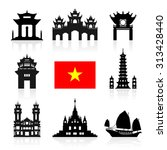 vietnam travel landmarks.... | Shutterstock .eps vector #313428440