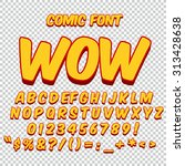 Comic Alphabet Set. Gold Color...
