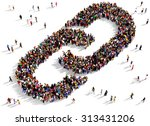 large group of people seen from ... | Shutterstock . vector #313431206