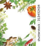 frame with spice and vegetables ... | Shutterstock .eps vector #313452434