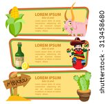 corn  goat  cowboy  tequila ... | Shutterstock .eps vector #313458680