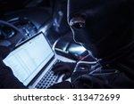 hacker inside the car. car... | Shutterstock . vector #313472699