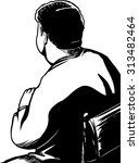 back of man seated in chair as... | Shutterstock .eps vector #313482464