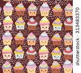 seamless pattern cupcake kawaii ... | Shutterstock .eps vector #313483370