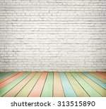 white brick wall and colorful... | Shutterstock . vector #313515890