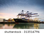 containers loading by crane  ... | Shutterstock . vector #313516796